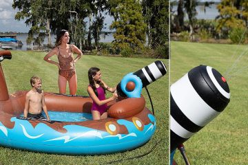 inflatable pirate ship with water cannon