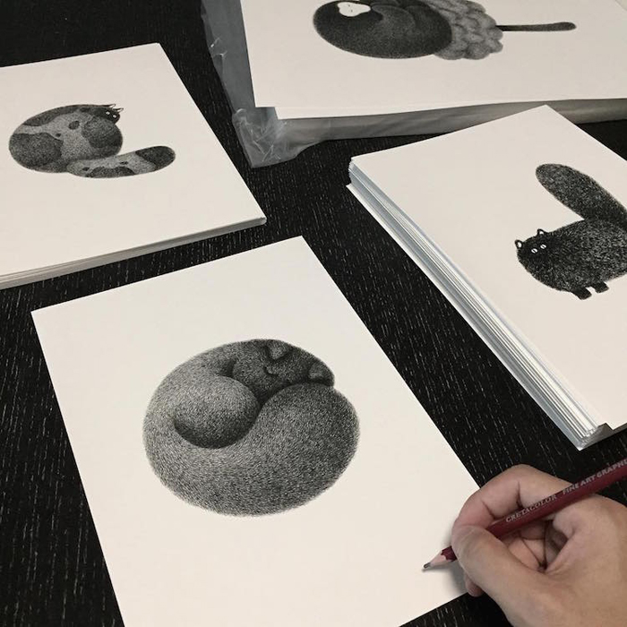 kamwei fong ink drawings