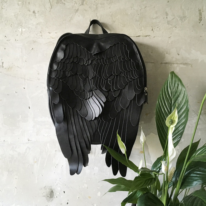 krukrustudio leather wings backpacks black faux