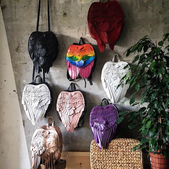 krukrustudio leather wings backpacks etsy
