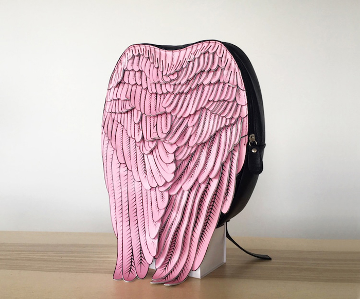 krukrustudio leather wings backpacks printed feathers pink