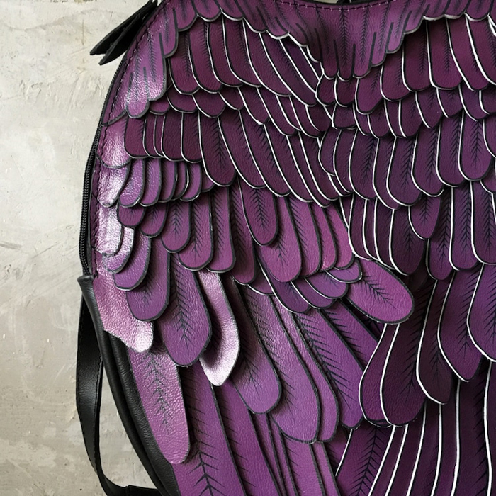 krukrustudio leather wings backpacks purple feathers