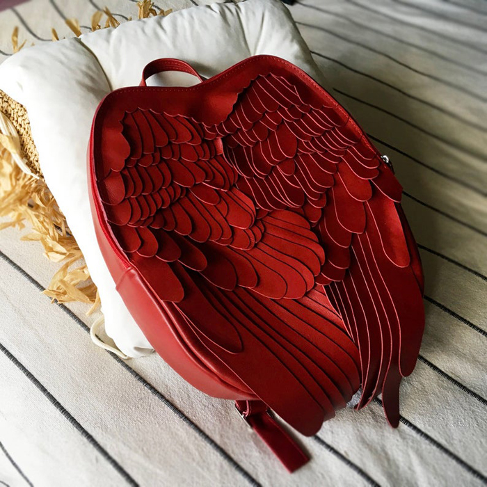 krukrustudio leather wings backpacks red bag