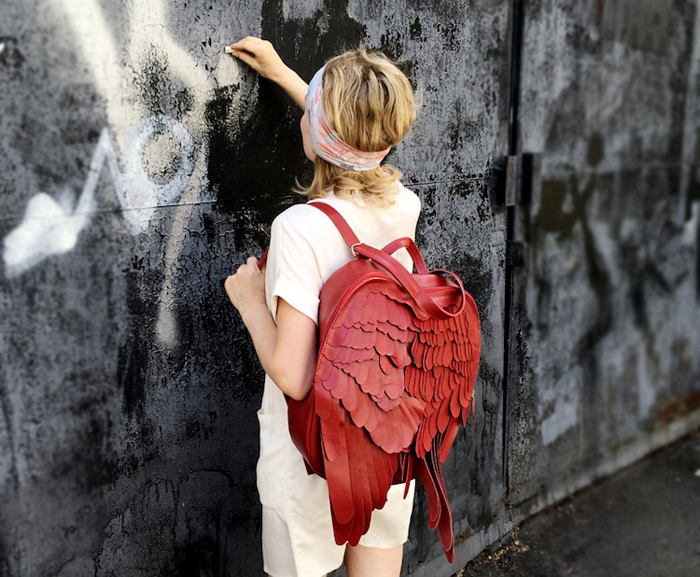 krukrustudio leather wings backpacks red