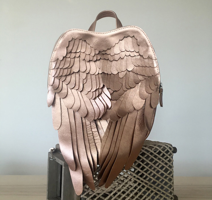 krukrustudio leather wings backpacks white gold