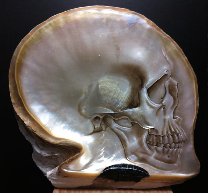 light peach gregory halili shell skull carvings