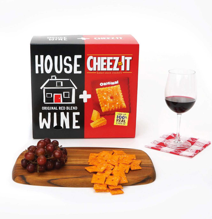 limited edition house wine and cheez-it combo box