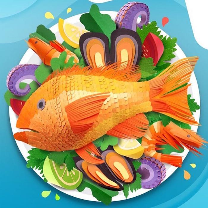 lisa lloyd 3d paper sculptures seafood plate