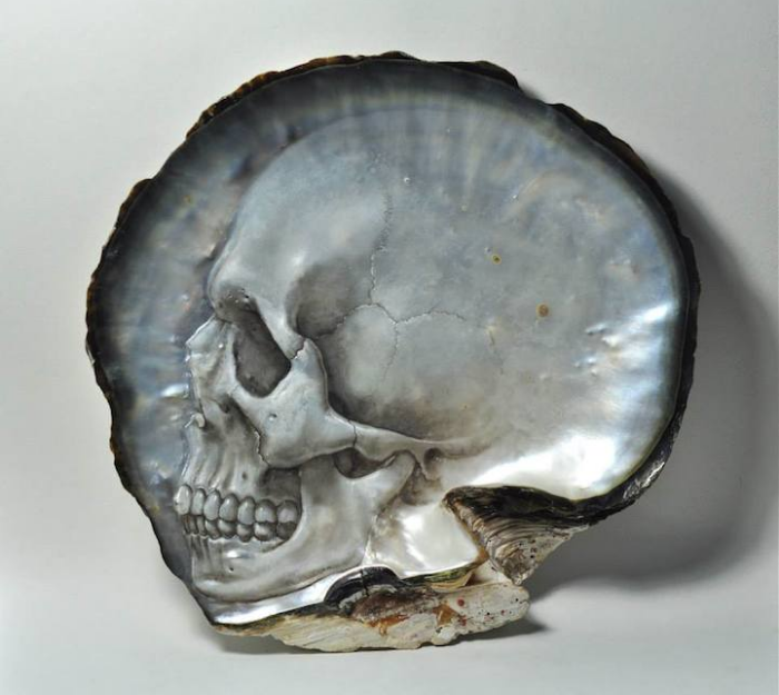 little grey gregory halili shell skull carvings