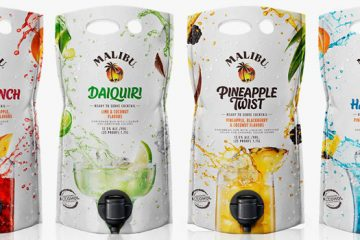 malibu flavored rum pouches