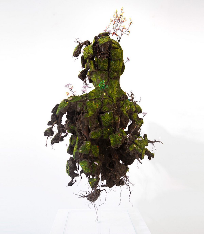 man's back emeric chantier plant sculptures