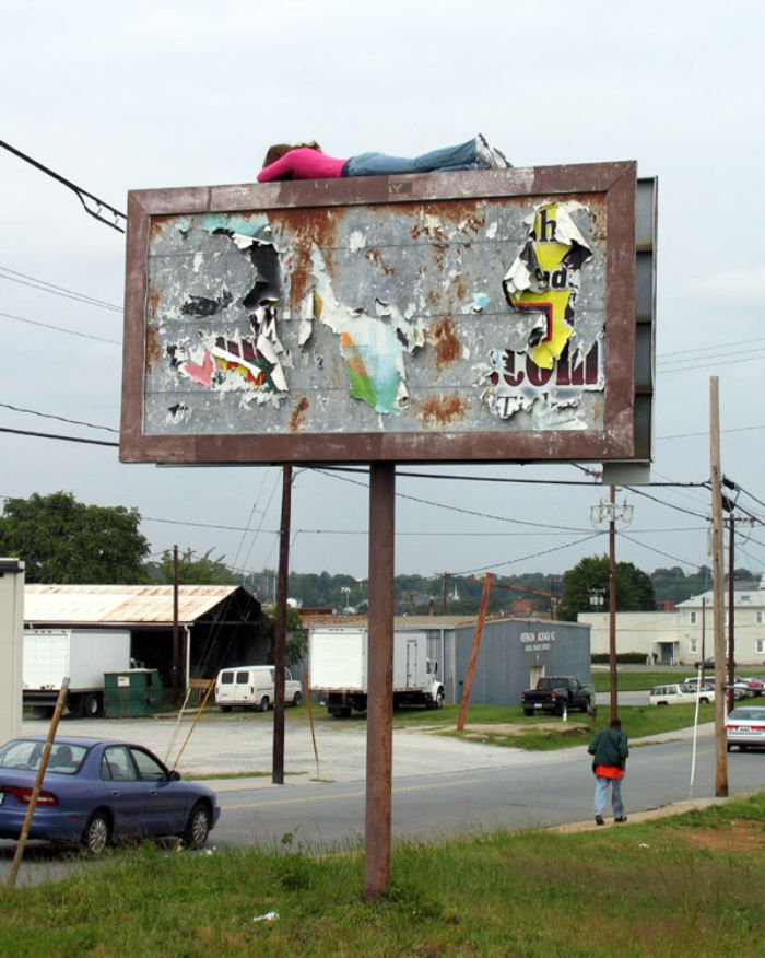 mark jenkins realistic mannequins billboard girl winston-salem