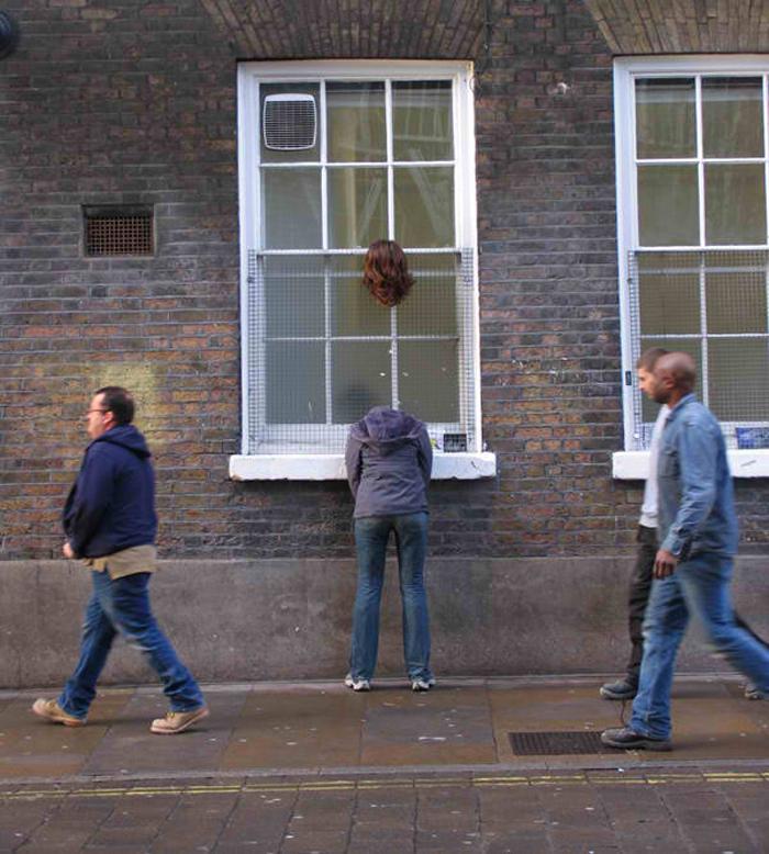 mark jenkins realistic mannequins floating head london