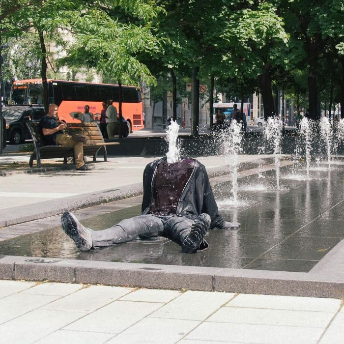 mark jenkins realistic mannequins fountain guy montreal canada