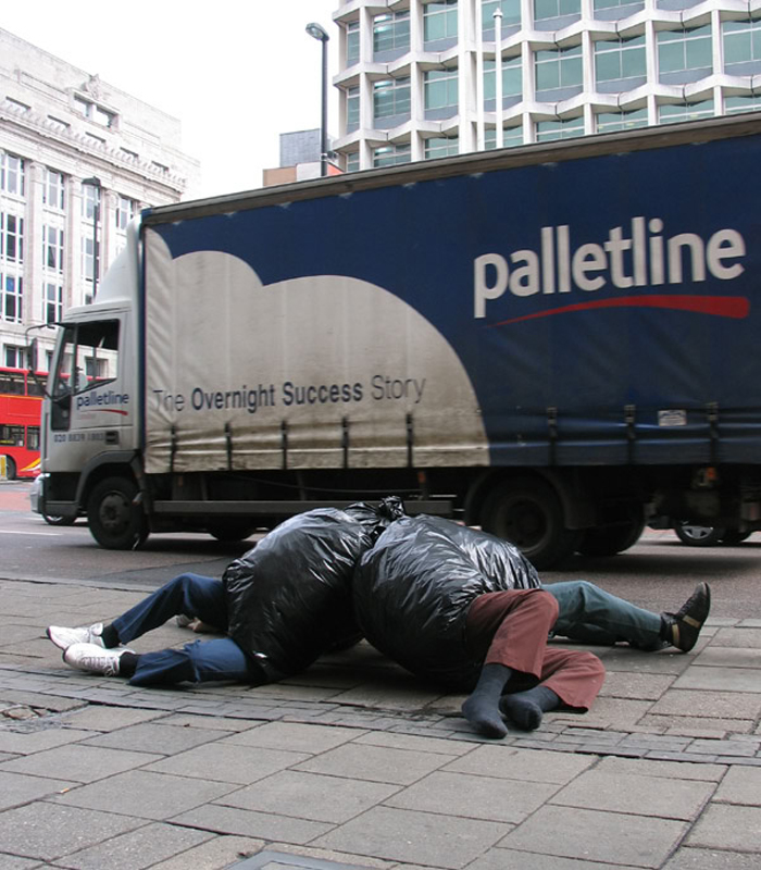 mark jenkins realistic mannequins garbage bag london