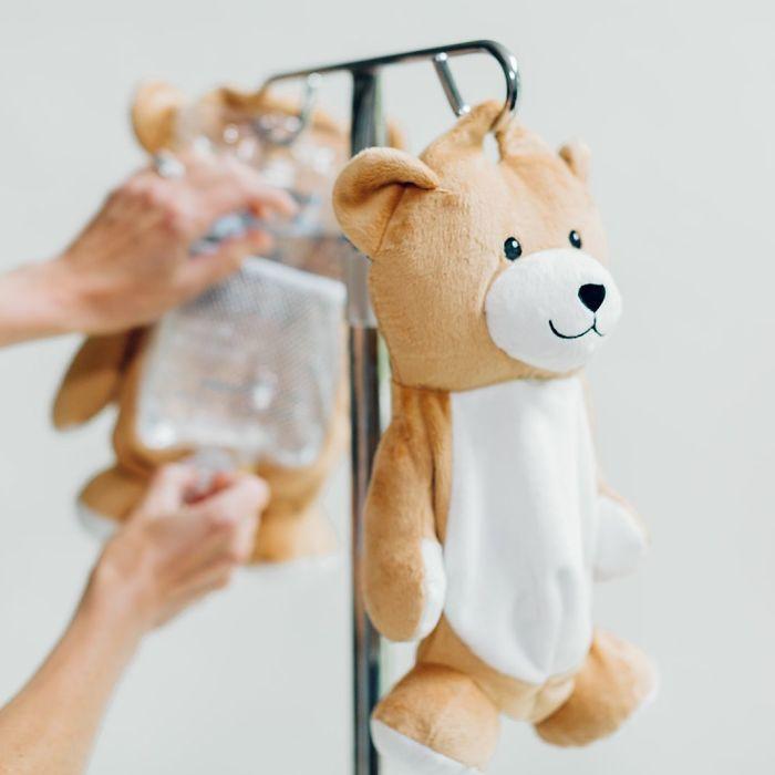 medi teddy bear hides iv bag