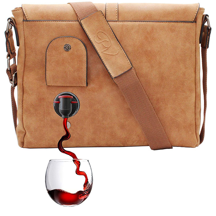 messenger wine dispensing bag