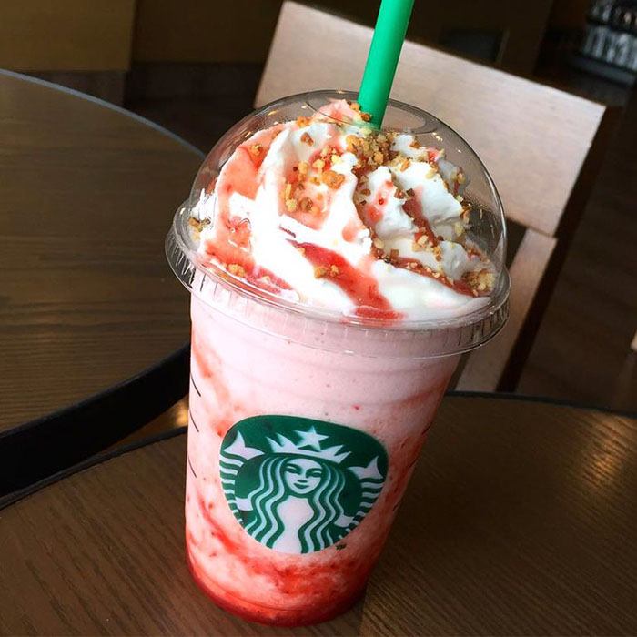 mind-blowing starbucks frappuccino strawberry cheesecake
