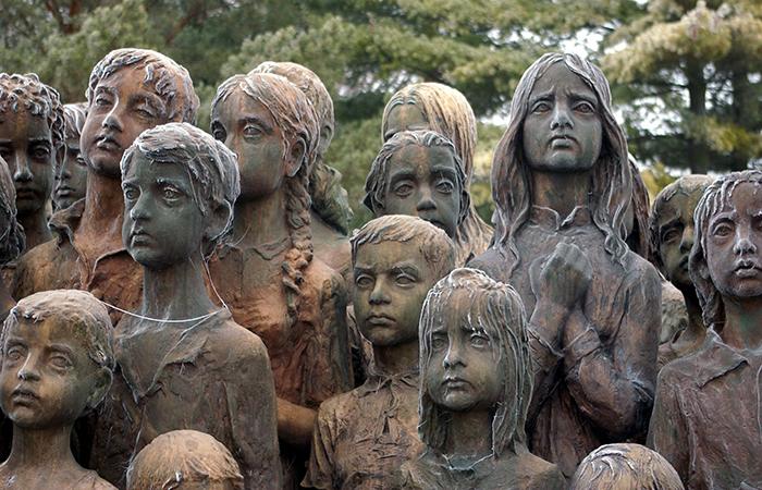 nazi murdered children sculptures in lidice village czechoslovakia czech republic