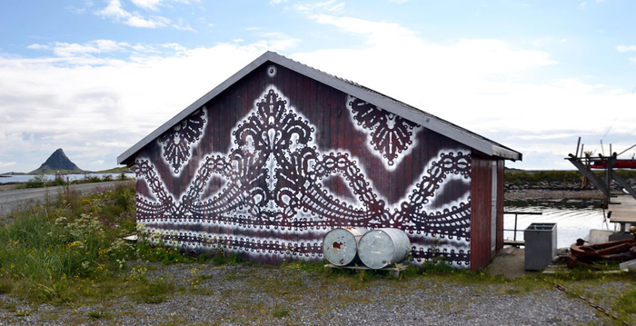 nespoon lacework murals lofoten norway fishing village