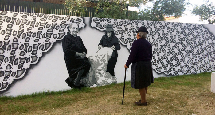 nespoon lacework murals povoa da atalaia portugal wall