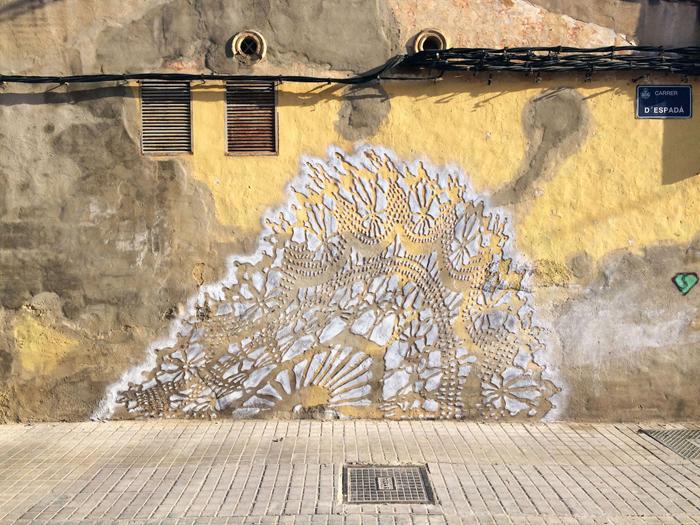 nespoon lacework murals valencia spain wall