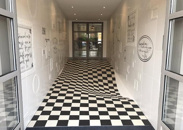 optical llusion hallway tile floor