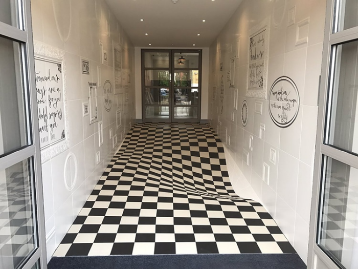 optical llusion hallway tile floor
