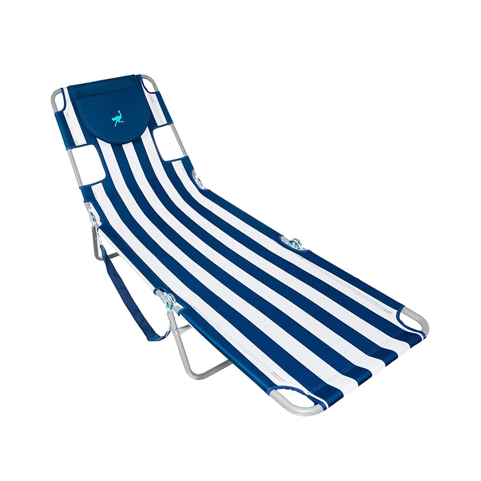 ostrich lounge chaise blue white striped