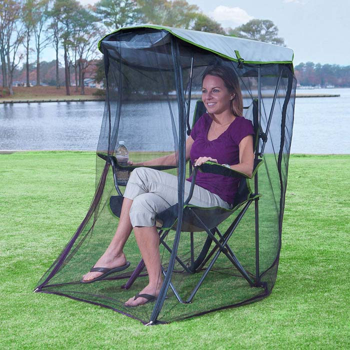 outdoor foldable chair with bug guard netting