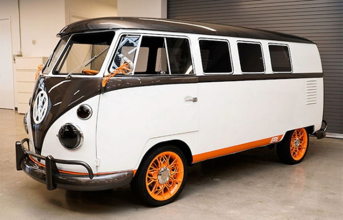 parked volkswagen type 20 electric vehicle