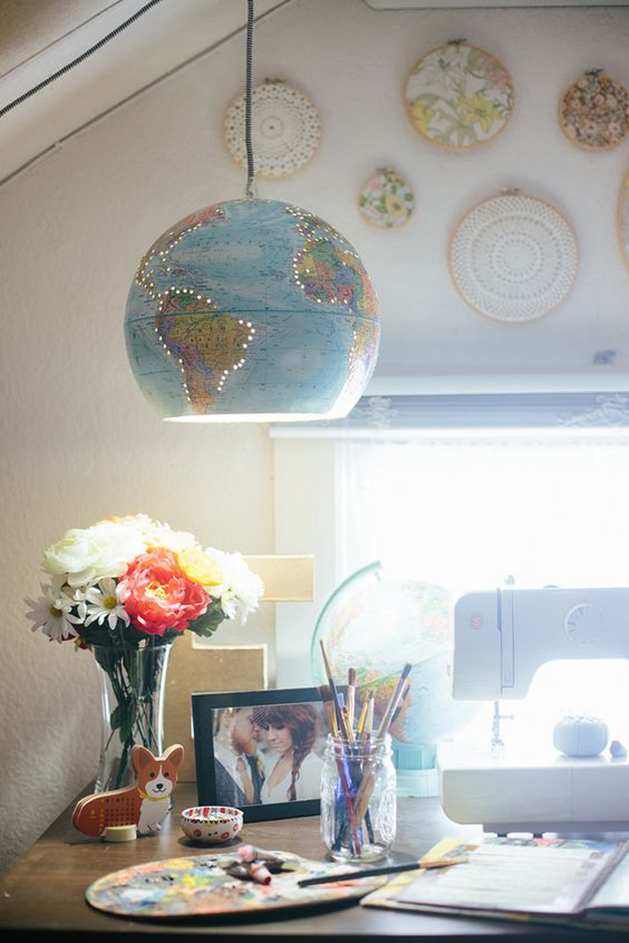pendant light upcycle old globe