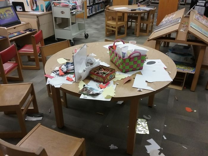 people being jerks messy library