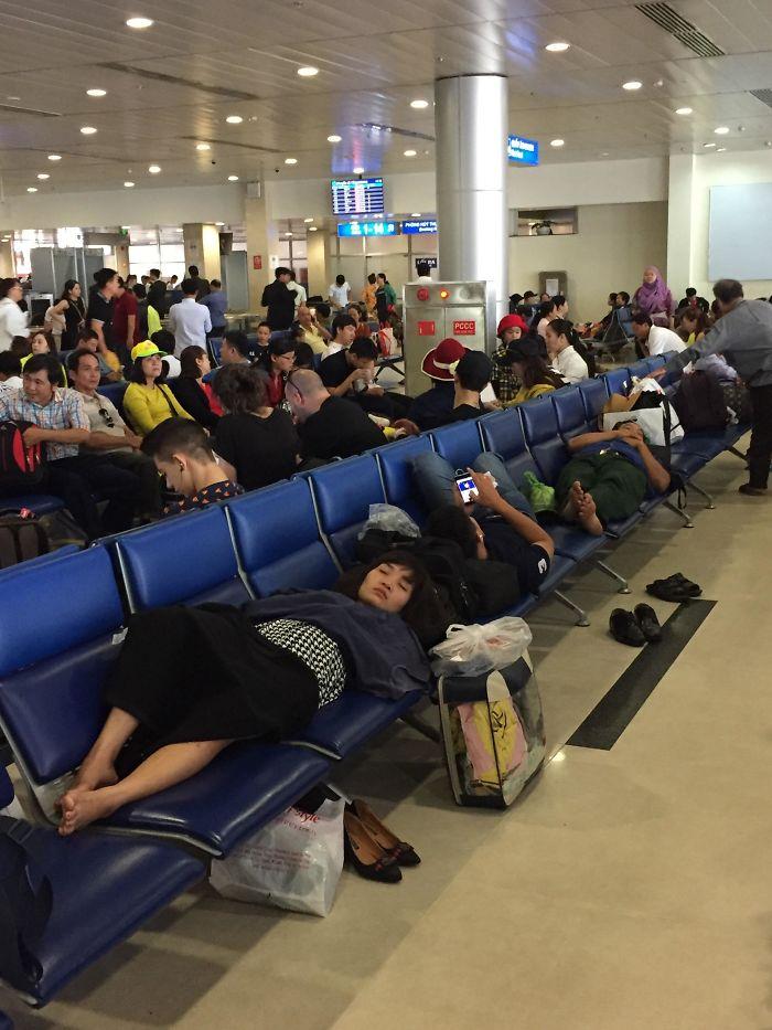 people being jerks sleeping on seats