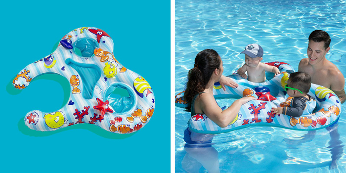 poolmaster mommy and us dual baby pool float rider