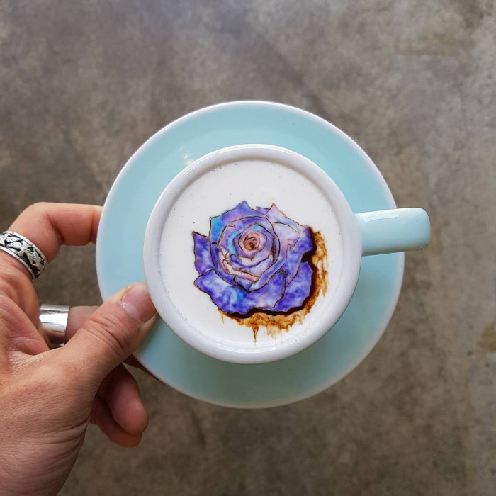 purple flower colored latte art kangbin lee