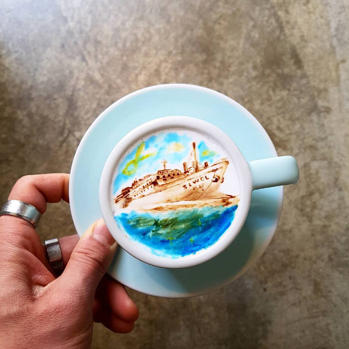 ship colored latte art kangbin lee