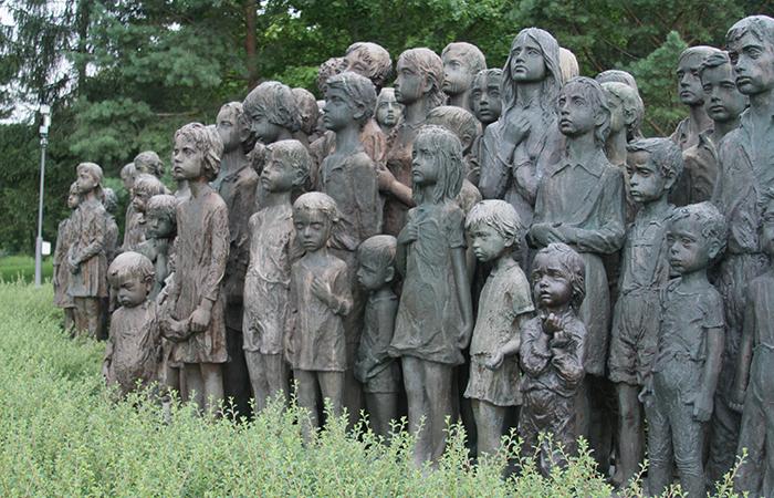 side view children sculptures in lidice village czechoslovakia czech republic