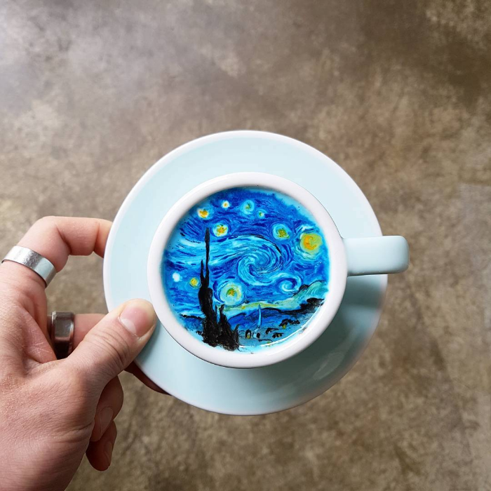 starry night flower colored latte art kangbin lee
