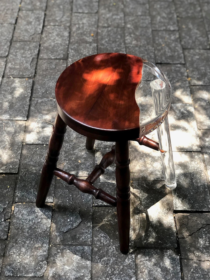 tatiane freitas wooden stool acrylic resin