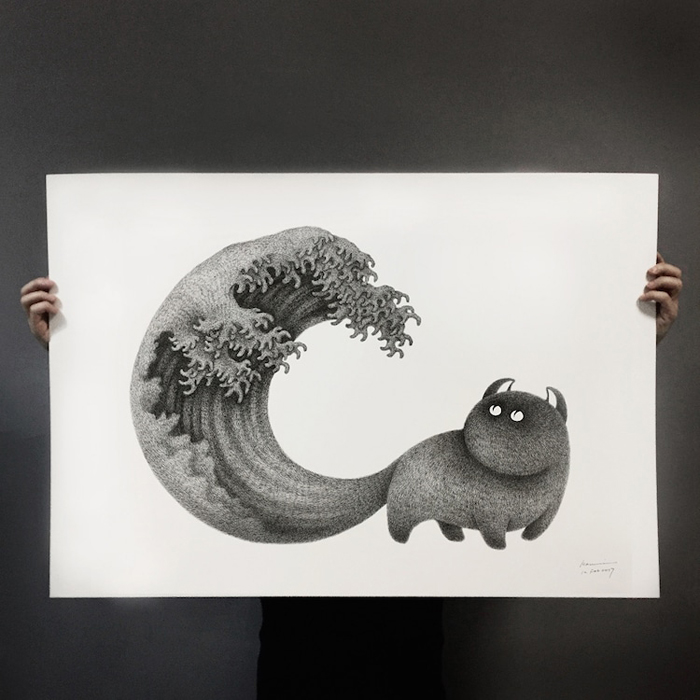 the furry thing kamwei fong the great wave tail print