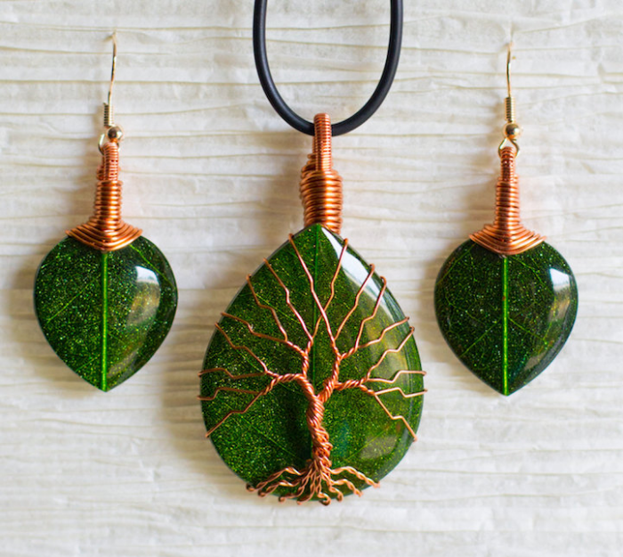 three green stones recycled beautifully wire jewelry