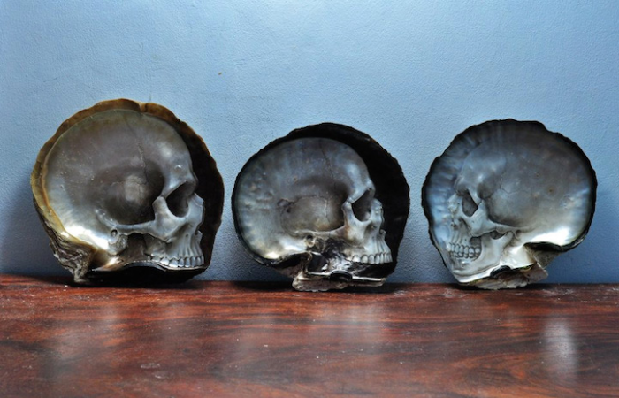 three samples gregory halili shell skull carvings