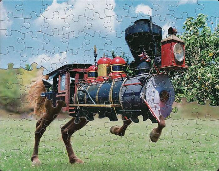 tim klein montage puzzle art iron horse
