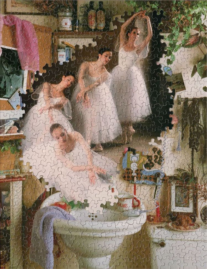 tim klein montage puzzle art the dance of the bathroom cleaning fairies