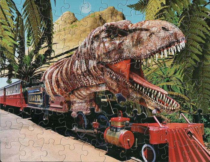 tim klein montage puzzle art trainosaurus rex