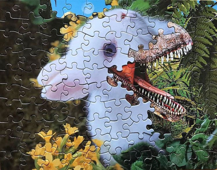 tim klein montage puzzle art were rabbit