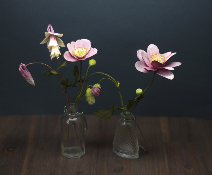 a kraus crepe paper objects anemones and aquilegia