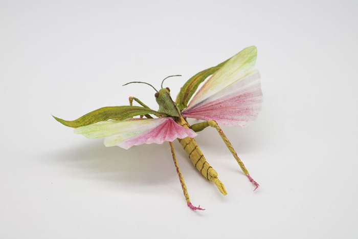 tina kraus crepe paper objects giant grasshopper detail