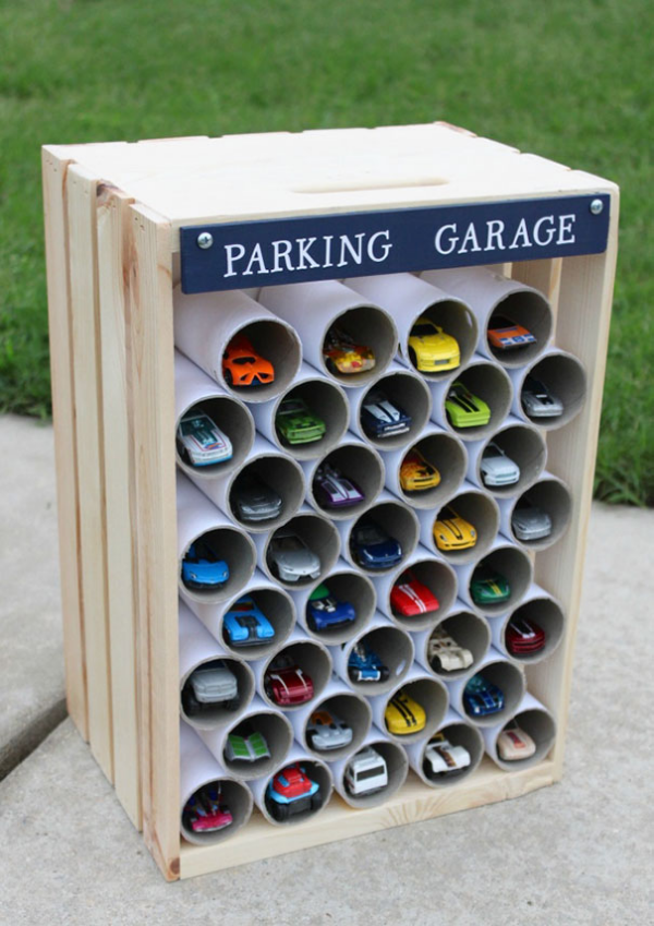 toilet paper tube parking garage parenting hacks tricks tips